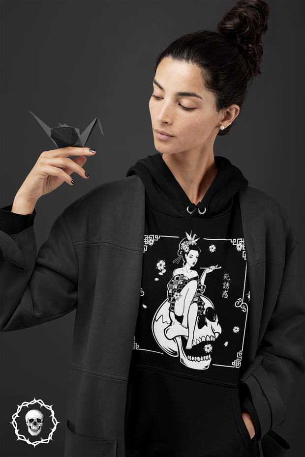 Death Geisha Sitting On Skull | Unisex Hoodie