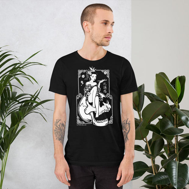 los-angeles-death-and-seduction-goth-geisha-cherry-blossoms-streetwear-punk-rock-Apparel & Accessories > Clothing (1604) - Death Geisha Sitting On Skull | Short-Sleeve Unisex T-Shirt
