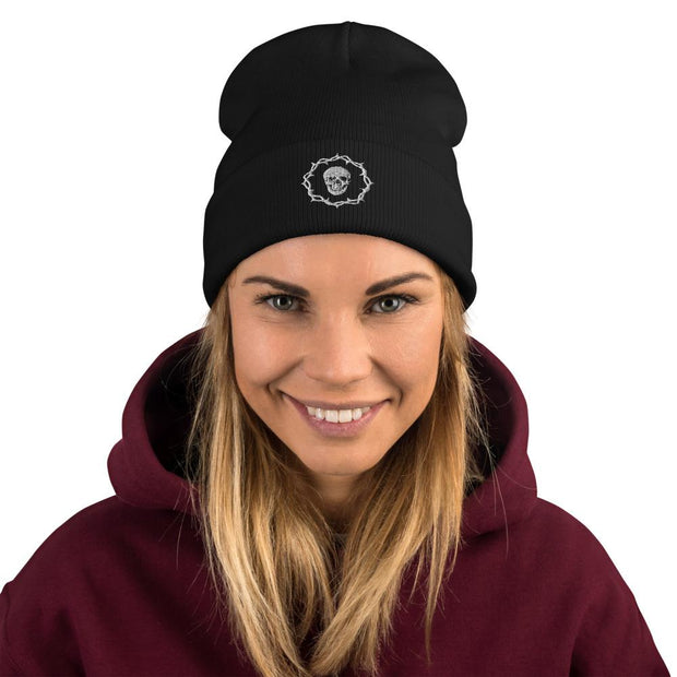 los-angeles-death-and-seduction-goth-streetwear-punk-rock-apparel-skulls-skeleton-Apparel & Accessories > Clothing (1604) - Death And Seduction Icon Embroidered Beanie