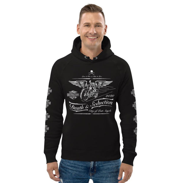 los-angeles-death-and-seduction-goth-streetwear-punk-rock-apparel-skulls-skeleton-cafe-racer-vintage-harley-davidson-indian-motocycle-Apparel & Accessories > Clothing (1604) - Death Cafe Racer | Unisex Pullover Hoodie