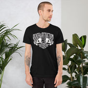 los-angeles-death-and-seduction-goth-streetwear-punk-rock-apparel-skulls-skeleton-cafe-racer-vintage-harley-davidson-indian-motocycle-Apparel & Accessories > Clothing (1604) - Love And Destruction Short-Sleeve Unisex T-Shirt