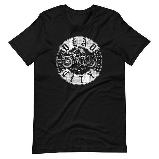 los-angeles-death-and-seduction-goth-streetwear-punk-rock-skulls-skeleton-cafe-racer-vintage-harley-davidson-indian-motocycle-dead-city-chains-Apparel & Accessories > Clothing (1604) - Dead City Short-Sleeve Unisex T-Shirt