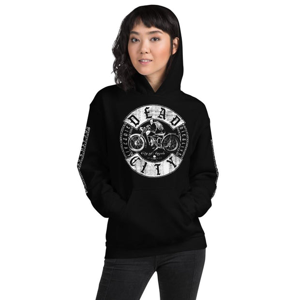 los-angeles-death-and-seduction-goth-streetwear-punk-rock-skulls-skeleton-cafe-racer-vintage-harley-davidson-indian-motocycle-dead-city-chains-Apparel & Accessories > Clothing (1604) - Dead City Unisex Hoodie