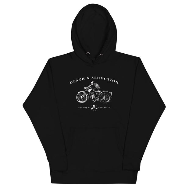 los-angeles-death-and-seduction-goth-streetwear-punk-rock-skulls-skeleton-crossbones-motorcycle-wings-city-of-angeles-vintage-harley-davidson-Apparel & Accessories > Clothing (1604) - Ghost Rider Cafe Racer | Unisex Hoodie