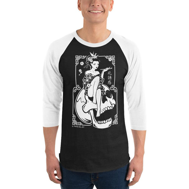 los-angeles-death-and-seduction-goth-streetwear-punk-rock-skulls-skeleton-geisha-cherry-blossoms-Apparel & Accessories > Clothing (1604) - Death Geisha Sitting On Skull | 3/4 Sleeve Raglan Shirt