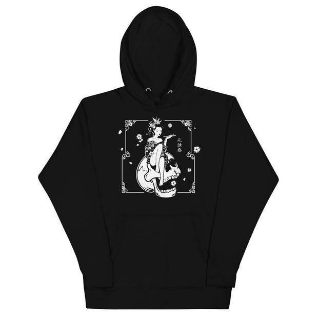los-angeles-death-and-seduction-goth-streetwear-punk-rock-skulls-skeleton-geisha-cherry-blossoms-Apparel & Accessories > Clothing (1604) - Death Geisha Sitting On Skull | Unisex Hoodie