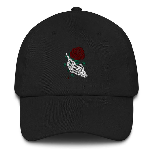 los-angeles-death-and-seduction-goth-streetwear-punk-rock-skulls-skeleton-holding-rose-Apparel & Accessories > Clothing (1604) - Beautiful Death Hand Rose | Dad Hat