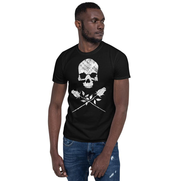 los-angeles-death-and-seduction-goth-streetwear-punk-rock-skulls-skeleton-lunatic-pink-floyd-roses-Apparel & Accessories > Clothing (1604) - Death City Crossing Short-Sleeve Unisex T-Shirt