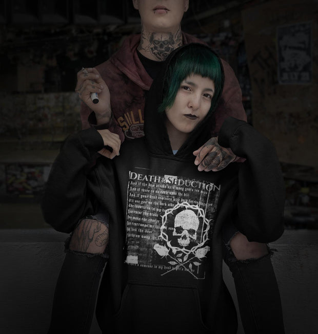 los-angeles-death-and-seduction-goth-streetwear-punk-rock-skulls-skeleton-lunatic-pink-floyd-roses-Apparel & Accessories > Clothing (1604) - Lunatic By Death And Seduction Unisex Hoodie