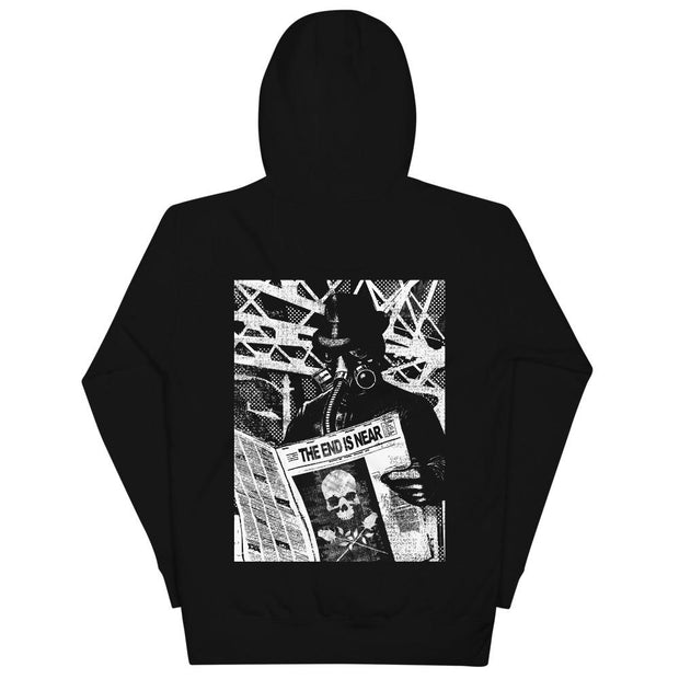 los-angeles-death-and-seduction-goth-streetwear-punk-rock-skulls-skeleton-roses-end-is-near-gas-mask-End Is Near | Unisex Hoodie