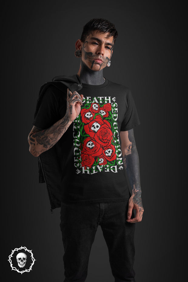 los-angeles-death-and-seduction-goth-streetwear-punk-rock-skulls-skeleton-roses-throns-vines-skater-Apparel & Accessories > Clothing (1604) - Skulls And Roses Short-Sleeve Unisex T-Shirt