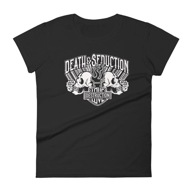 os-angeles-death-and-seduction-goth-streetwear-punk-rock-skulls-skeleton-cafe-racer-vintage-harley-davidson-indian-motocycle-sacred-heart-flames-Apparel & Accessories > Clothing (1604) - Love And Destruction Women's Short Sleeve T-shirt