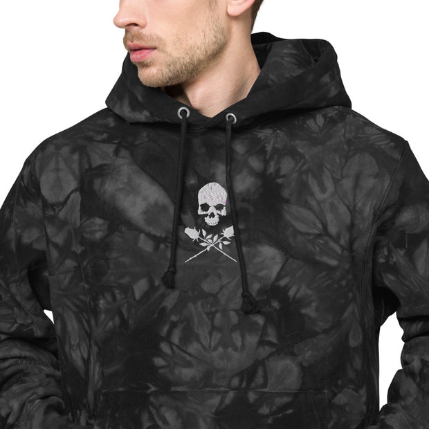 Lunatic Skull with Crossed Roses Champion tie-dye hoodie | Death and Seduction