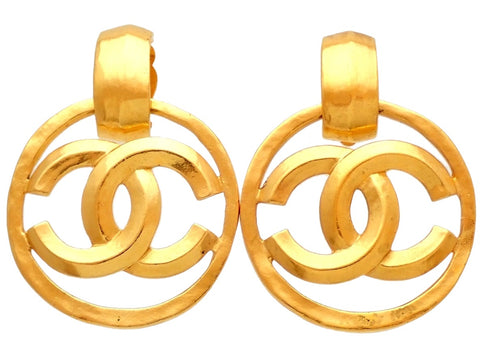 Authentic vintage Chanel earrings CC logo hoop dangle