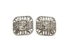 Vintage Chanel earrings CC logo rhinestone square
