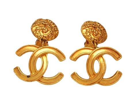 Vintage Chanel earrings CC logo dangle gold tone