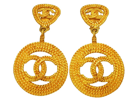 Vintage Chanel earrings big CC logo hoop dangle