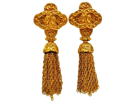 Vintage Chanel earrings CC logo tassel fringe dangle