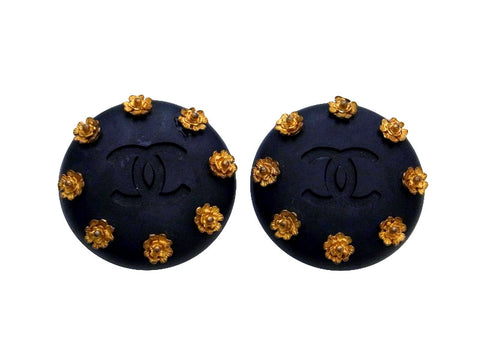 Vintage Chanel earrings CC logo camellia round