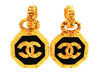 Vintage Chanel earrings CC logo black round dangle