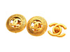 Vintage Chanel earrings CC logo round gold tone