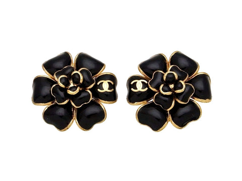 Vintage Chanel earrings black camellia flower CC logo