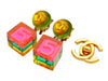 Vintage Chanel earrings No.5 pink cube dangle