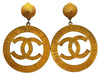 Vintage Chanel earrings sunburst CC logo dangle