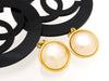 Vintage Chanel earrings pearl black CC hoop dangle super rare
