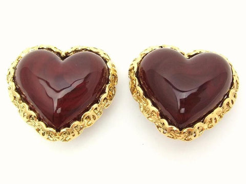 Authentic vintage Chanel earrings red heart stone gold CC frame