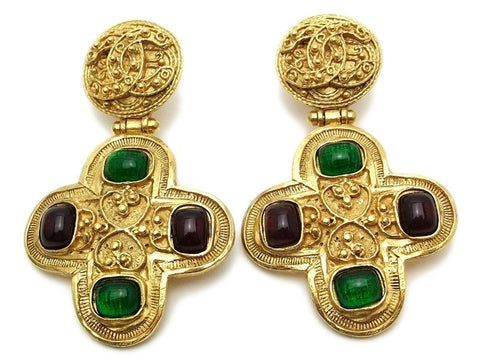 Authentic vintage Chanel earrings CC red green glass dangle huge