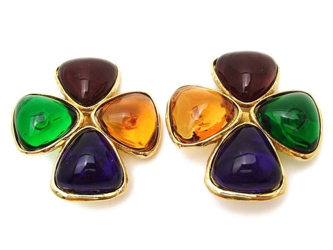 Authentic vintage Chanel earrings multicolor gripoix glass clover