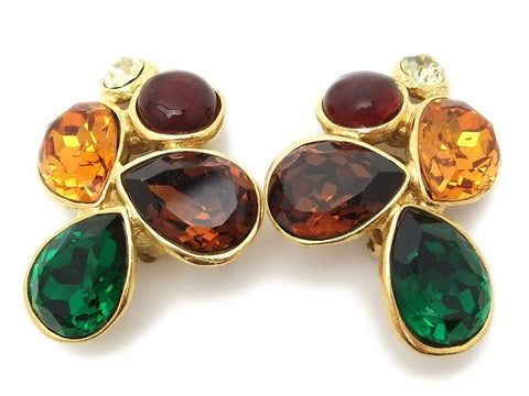 Authentic vintage Chanel earrings multicolor rhinestone large