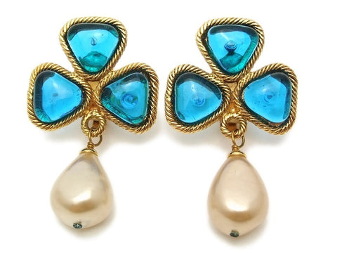 Authentic vintage Chanel earrings light blue stone clover pearl drop