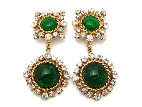 Authentic vintage Chanel earrings green glass stone rhinestone dangle