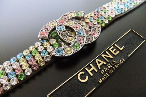 Authentic Vintage Chanel bracelet bangle multicolor rhinestone CC