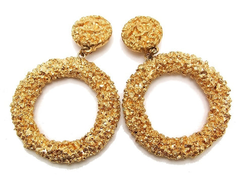 Authentic vintage Chanel earrings gold CC swing huge hoop dangle