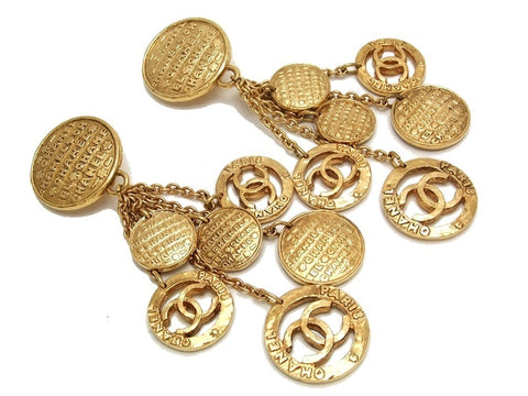 Authentic vintage Chanel earrings gold swing CC medals huge rare