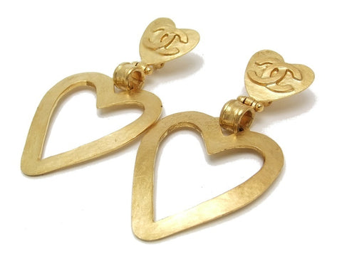 Authentic vintage Chanel earrings gold CC swing heart hoop dangle