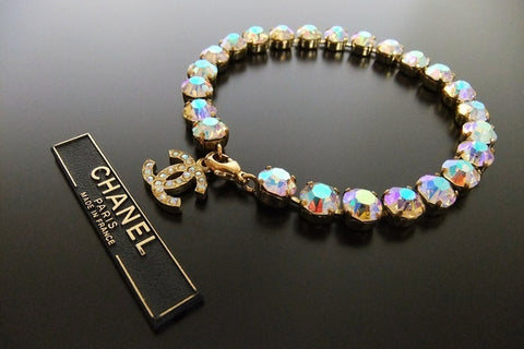 Authentic Vintage Chanel bracelet anklet aurora color rhinestone CC