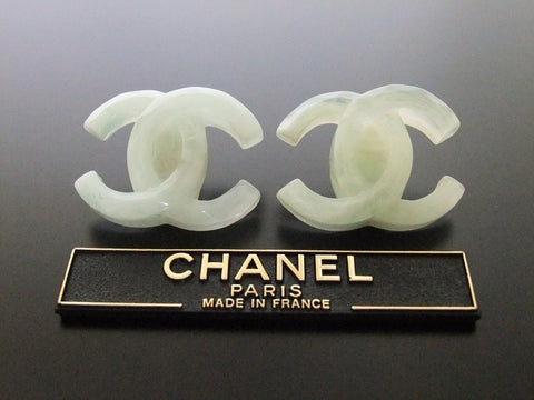 Authentic vintage Chanel earrings white green CC