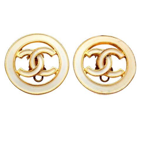 Authentic Vintage Chanel earrings white CC logo round