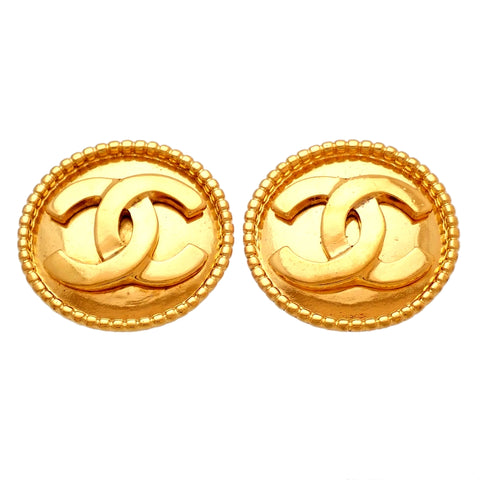 Authentic Vintage Chanel earrings CC logo round large