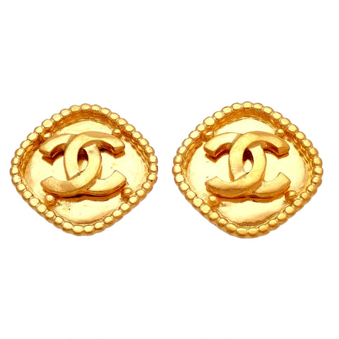 Authentic Vintage Chanel earrings CC logo rhombus