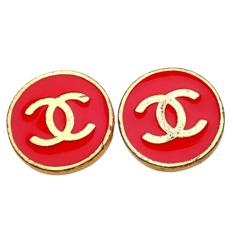 Authentic Vintage Chanel earrings CC logo red round