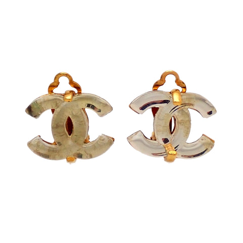 Authentic Vintage Chanel earrings glass CC logo clear white