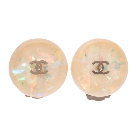 Authentic Vintage Chanel earrings CC logo white plastic round