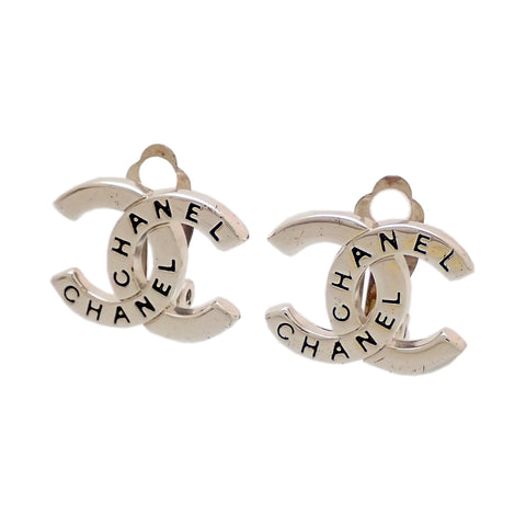 Authentic Vintage Chanel earrings CC logo letter silver color double C