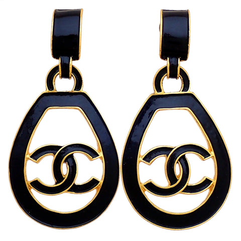 RARE Authentic Vintage Chanel earrings CC logo black painted hoop