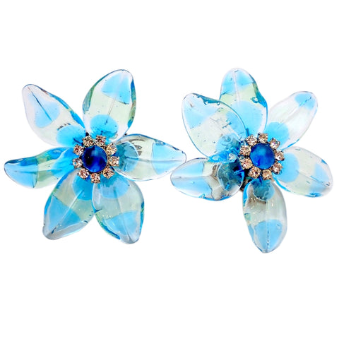 RARE Authentic Vintage Chanel earrings blue glass flower rhinestone 1999